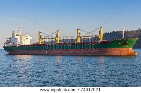 Bulk Carrier. Cargo Ship Sails On The Black Sea