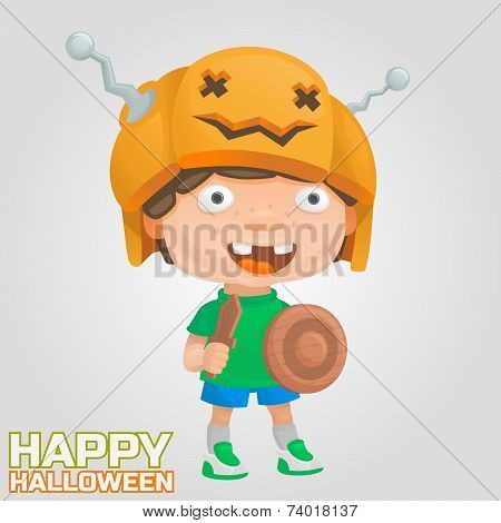 halloween boy pumpkin warrior