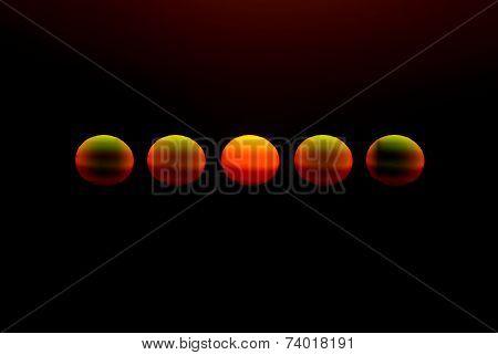 Five suns on black