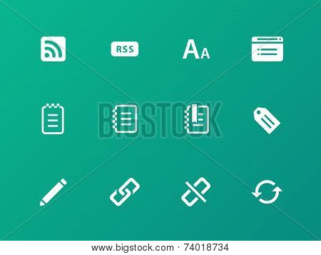 Blogger icons on green background