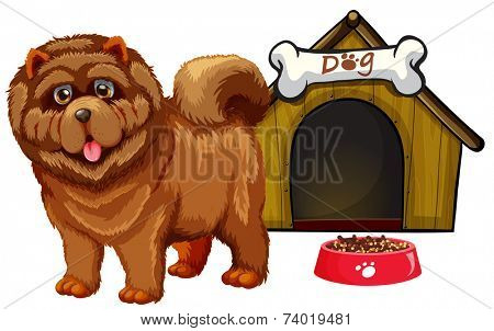 Illustration of a dog with a dog house