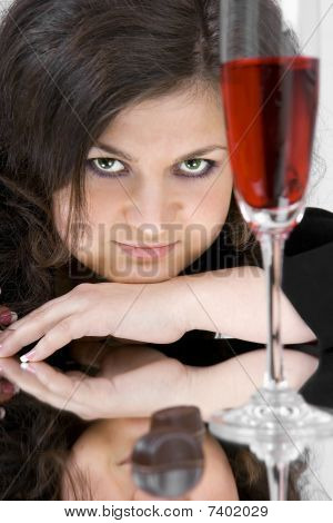 The Beautiful Young Woman With Wine Glass