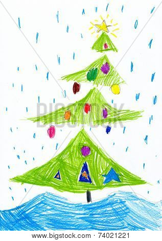 Christmas tree on snowfall. Child drawing.