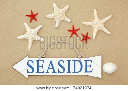 Seaside sign with starfish and cockle shell on sand background.