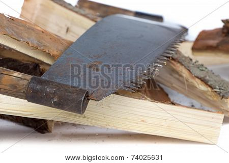 Image of handsaw and birch woods