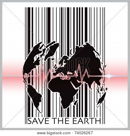 Save The Earth With Barcode Scanning Ecology Background Concept