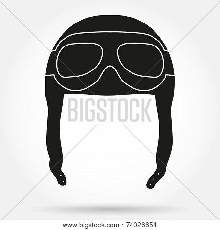 Silhouette symbol ofRetro aviator pilot helmet with goggles.