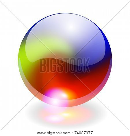 Glass shining sphere with rainbow colors, design element, vector illustration.