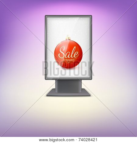 Black lightbox with Red Christmas tree ball and advertising.
