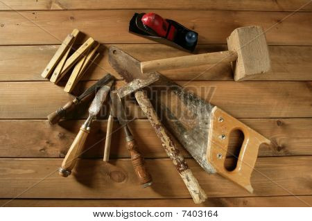 Carpenter Tools Saw Hammer Wood Tape Plane Gouge