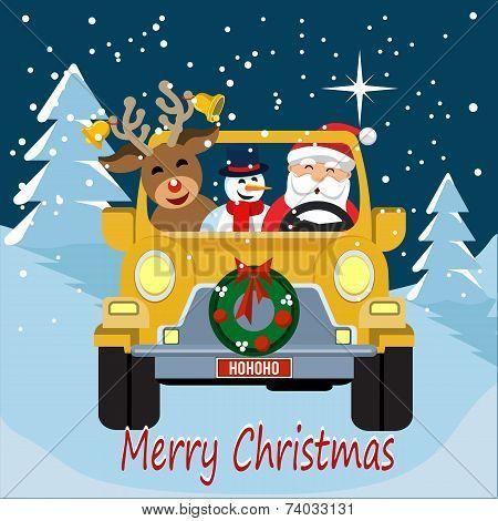 Santa Christmas Car