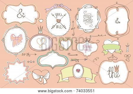 Doodle colored  labels, badges,frame,decor element.Love
