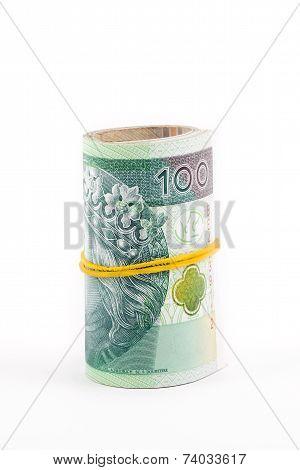 Rolled up Polish money