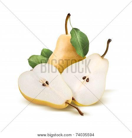 Pears Bartlett Whole And Split Isolated On White