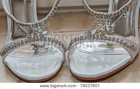 Closeup Detail Of Bridal Shoes