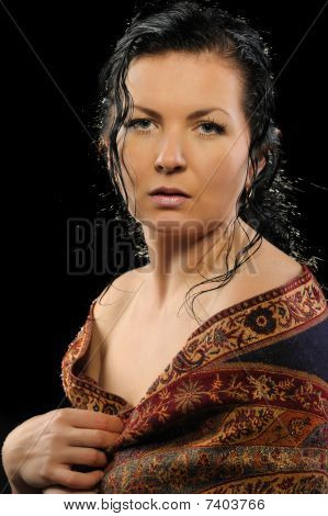 Portrait Of The Russian Attractive Woman With A Shawl