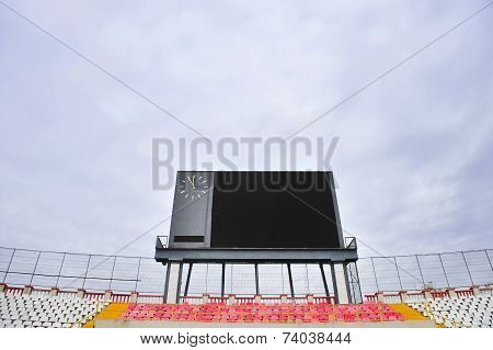Football Scoreboard And Empty Tribune
