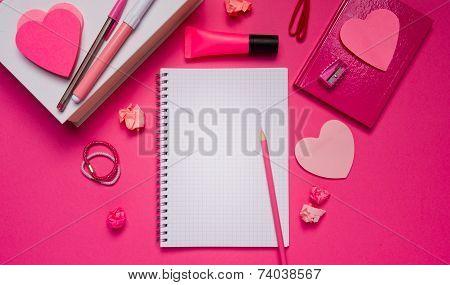 Girly Desktop And Stationery