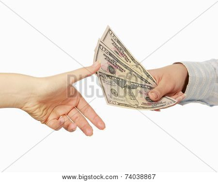 Money on the hands, isolated on white background.