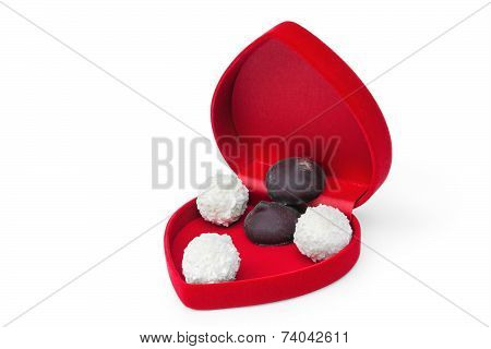 Open Box In Shape Heart With Candy
