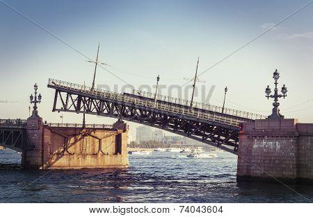 Raised Troizkiy bridge in Saint Petersburg, Russia