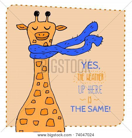 Giraffe in scarf hand drawn illustration. Vector illustration.