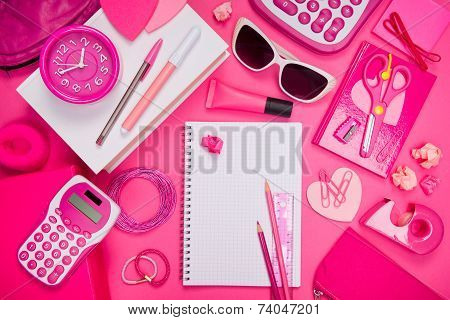 Girly Pink Desktop And Stationery