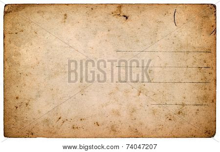 Old Postcard. Aged Blank Paper Sheet Isolated On White