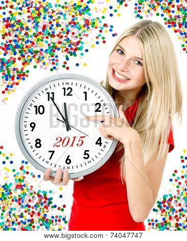 New Year 2015. Five To Twelve. Big Clock And Party Decoration