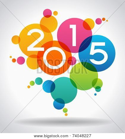 Vector 2015 Happy New Year background.  The file is saved in the version AI10 EPS. This image contains transparency