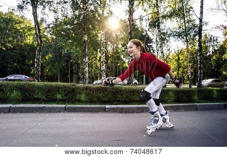 Teenage Girl Rollerskating