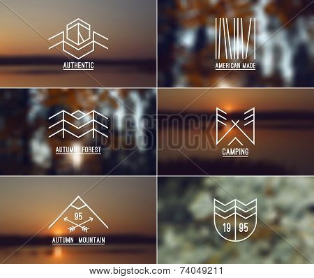 Set Of Retro Vintage Badges And Card With Blurred Backgrounds