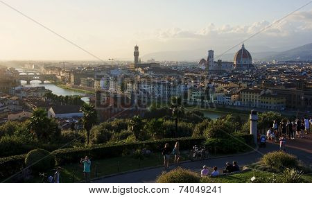 Florence, Italy - August 15, 2014: Tourists Visiting  Statue Of