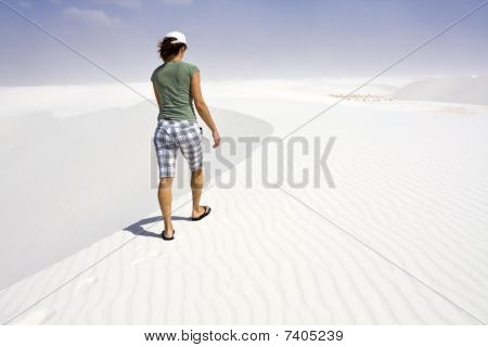 Girl Walking White Dunes