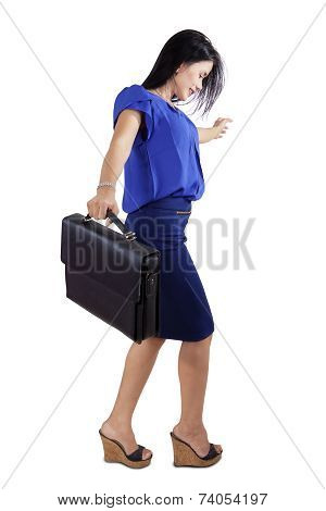 Businesswoman Walk On Invisible Line