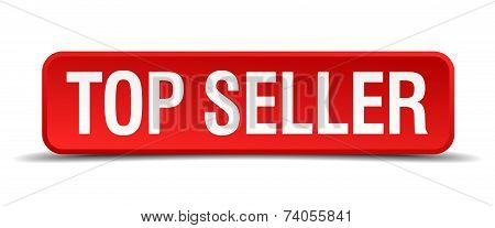 Top Seller Red Vector Square Button Isolated On White