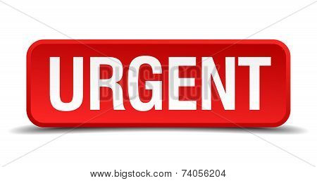 Urgent Red 3D Square Button Isolated On White