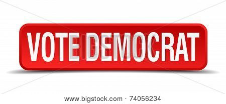 Vote Democrat Red 3D Square Button Isolated On White