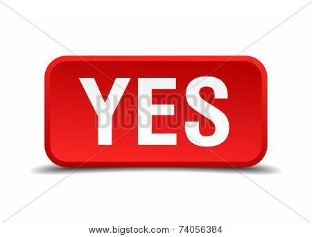 Yes Red 3D Square Button Isolated On White