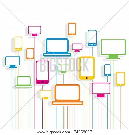colorful technology device pattern background vector