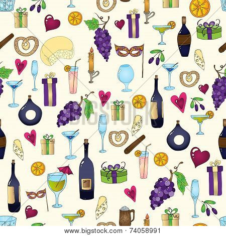 Wine and coctail seamless background.
