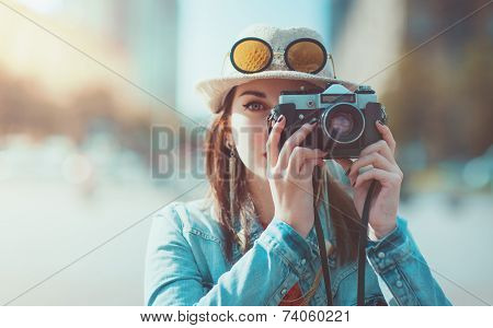 Hipster Girl Making Picture With Retro Camera, Focus On Camera