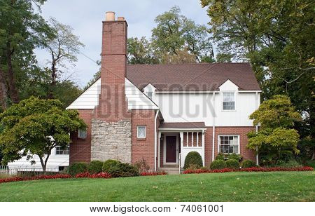 House with Large Fireplace Chimney