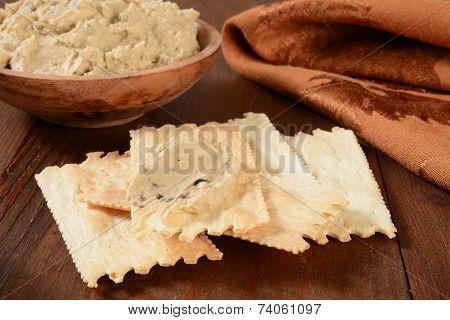 Flatbread Crackers With Hummus