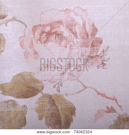 Vintage Victorian Wallpaper With Rose Floral Pattern Close Up