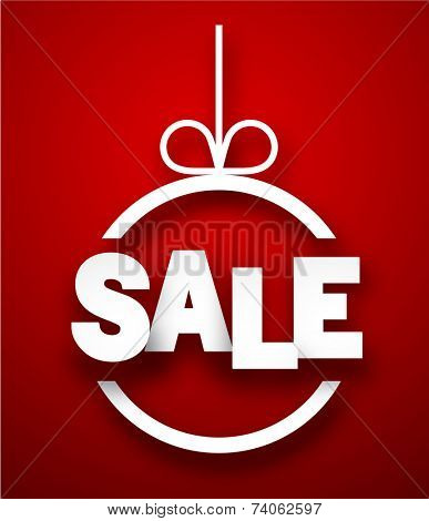 Christmas bauble with sale paper sign. Vector illustration.