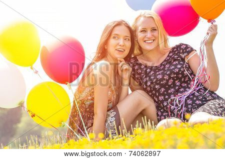 couple of girl with balloon