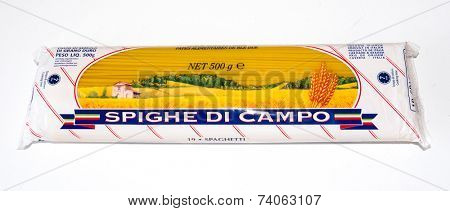 GOMEL, BELARUS - AUGUST 22, 2014: Pasta Spighe Di Campo. Spighe Di Campo is a brand  products owned by P.A.P. srl.
