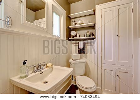 Bathroom With Plank Paneled Wall
