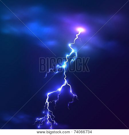 Blue shining vector lightnings background